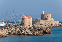 Rhodes Landmark Mandraki Port Royalty Free Stock Image