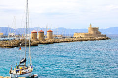 Rhodes landmark - Mandraki port Royalty Free Stock Photography