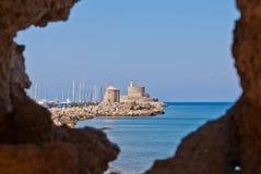 Rhodes Landmark The medeltida fyr arkivbilder