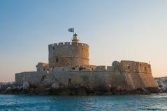 Rhodes Landmark The medeltida fyr royaltyfria bilder