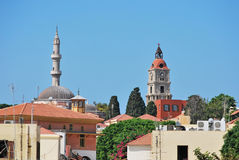 Rhodes Landmarks Suleiman Mosque And Clock Tower Stock Photos