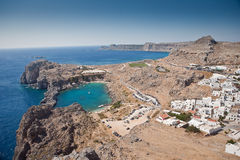 Rhodes, Lindos bay. Greek islands - Rhodes, Lindos bay stock photo