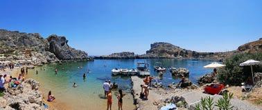 Rhodes Lindos Bay. A landscape of Rhodes Lindos Bay royalty free stock photo