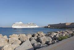Rhodes Mandraki harbour cruis liner. Greece Royalty Free Stock Photos