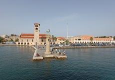 Rhodes Mandraki harbour. Greece Stock Photos