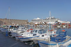 Rhodes Mandraki harbour ships and boats. Greece Royalty Free Stock Image