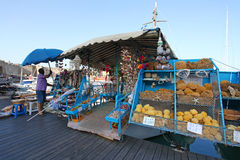 Rhodes Mandraki harbour souvenir shop. Greece Royalty Free Stock Images