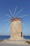 Rhodes Mandraki harbour wind mill. Greece Stock Photo