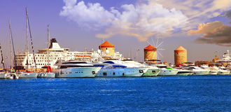Rhodes, Mandraki Port Royalty Free Stock Images