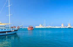Rhodes Mandraki port. Rhodes Island. Greece Stock Photography