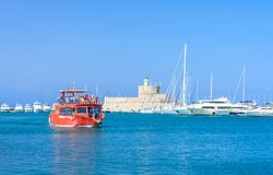 Rhodes Mandraki port. Rhodes Island. Greece Royalty Free Stock Photos