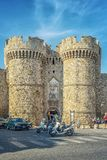 Rhodes Marina Gate Editorial immagini stock libere da diritti