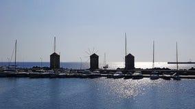 Rhodes Marina Old Windmills fotos de archivo