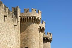Rhodes medeltida riddareslott (slotten), Grekland Arkivfoto