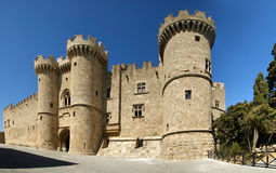 Rhodes Medieval Knights Castle (Palace), Greece. Rhodes Island, Greece, a symbol of Rhodes, of the famous Knights Grand Master Palace (also known as Castello) in Stock Image