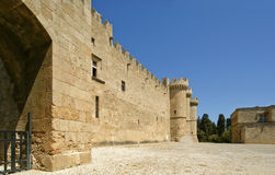 Rhodes Medieval Knights Castle (slott), Grekland Arkivfoto