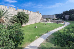 Rhodes Medieval Walls Stock Image