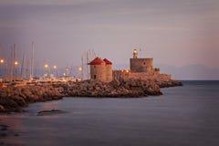 Rhodes miasteczka latarnia morska zdjęcie royalty free