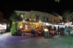 Rhodes Old-Stadt bis zum Nacht Griechenland Lizenzfreie Stockfotos