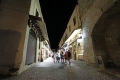 Rhodes Old-Stadt bis zum Nacht Griechenland Lizenzfreies Stockbild