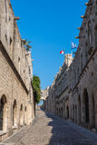 Rhodes old town, Avenue of the Knights. Medieval City of Rhodes, Greece, Avenue of the Knights Stock Photo