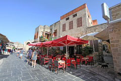 Rhodes Old Town-Café Griechenland Stockfoto
