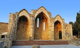 Rhodes old town Church of the Virgin of the Burgh. In a touristic square royalty free stock photo