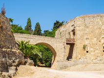 Rhodes old town entrance bridge Royalty Free Stock Photos