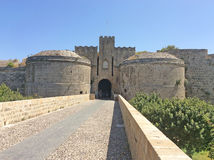 Rhodes Old Town Fortress-Tore, Griechenland Stockfotos