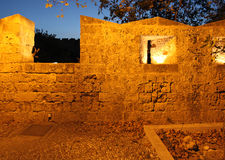 Rhodes Old town Fortress wall by night. Greece Royalty Free Stock Photos