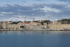 Rhodes Old Town from the Harbour Stock Photography