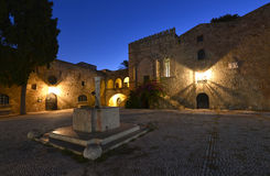 Rhodes, Old Town. Rhodes Island, Illuminated Captain House in Rhodes Town stock photos