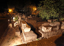 Rhodes old town ruins by night, Greece Royalty Free Stock Photos