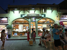 Rhodes Old town shopping by night. Greece Royalty Free Stock Photography