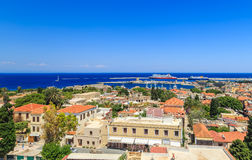 Rhodes old town top view summer sunny day Stock Image