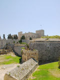 Rhodes old town walls. With Grand Master's Palace in the background, Greece Royalty Free Stock Image