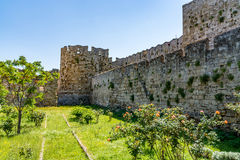 Rhodes old town walls, Greece Stock Image