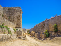 Rhodes old town walls on summer sunny day. Greece royalty free stock images