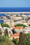 Rhodes. Panorama av den gammala townen Arkivfoto