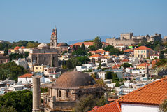 Rhodes. Panorama of old town. Rhodes, Greece. Panorama of historical part old town Stock Photo