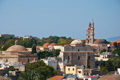 Rhodes. Panorama of old town Stock Image