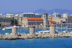 Rhodes - panorama of Rhodes town and windmills, Greece Royalty Free Stock Photo