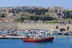 Rhodes - panorama of Rhodes town and windmills, Greece Royalty Free Stock Photos