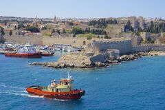 Rhodes - panorama of Rhodes town and windmills, Greece Royalty Free Stock Photography