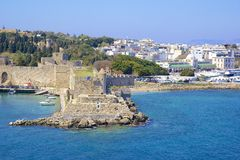 Rhodes - panorama of Rhodes town and windmills, Greece Stock Photo