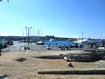 Rhodes port. Port in Rhodes, Greece. View on ancient ruins and ferry station. Photo taken on: September 2014 stock image
