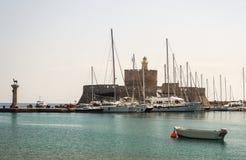 Rhodes port, Grekland Arkivfoto