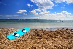 Rhodes. Prasonisi. Une ressource windsurfing Image libre de droits