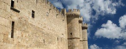 Rhodes rockerar medeltida riddare (slotten), Grekland Fotografering för Bildbyråer