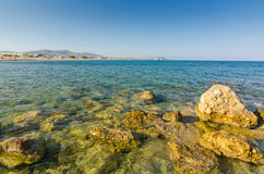 Rhodes sea coast at evening time Royalty Free Stock Image